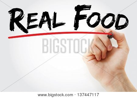 Hand Writing Real Food With Marker