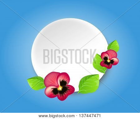 Light blue background with white circle decorated with pink heartseases and green leaves