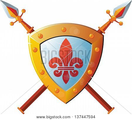 Beautiful knight shield with two crossed spears on white background