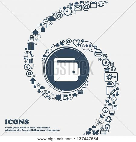 Purse Icon Sign In The Center. Around The Many Beautiful Symbols Twisted In A Spiral. You Can Use Ea