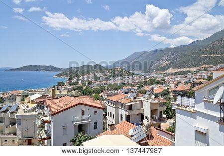 Panorama of Kas town, Mediterranean Coast, Turkey