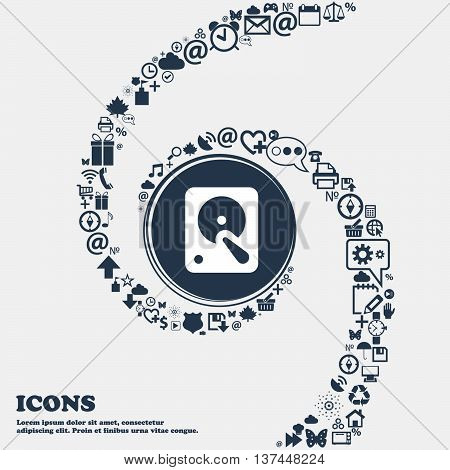 Hard Disk Icon Sign In The Center. Around The Many Beautiful Symbols Twisted In A Spiral. You Can Us