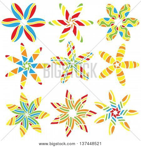 Colorful floral ornaments  isolated over white background
