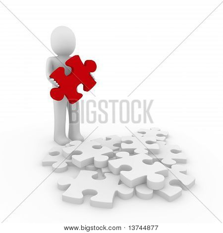 3D Human Red Puzzle