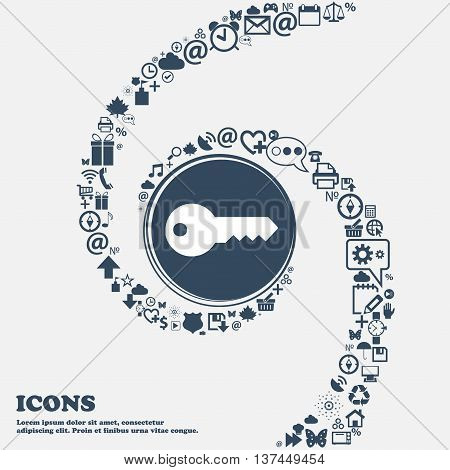 Key Icon Sign In The Center. Around The Many Beautiful Symbols Twisted In A Spiral. You Can Use Each