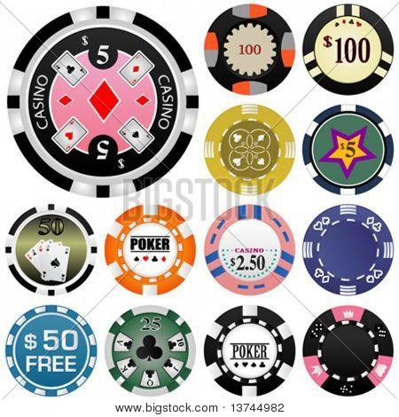 gambling chips vector set 2