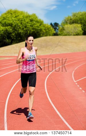 Female athlete running on the running track on a sunny day