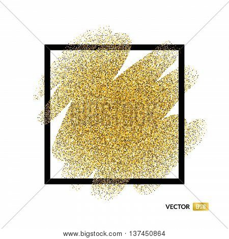 Abstract vector background with gold glitter. 100% vector - easy to use and edit. Gold sparkles isolated on white background with place for your text. Golden design element for gift voucher bridal shower birthday party vip card or other type of template..