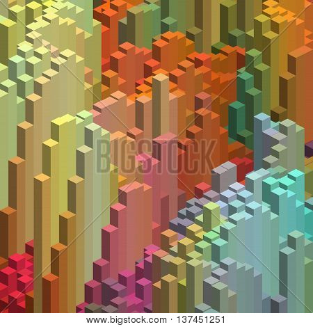 Abstract Background With Cube Decoration. Vector Illustration. Blue, Yellow, Orange, Green Colors. C