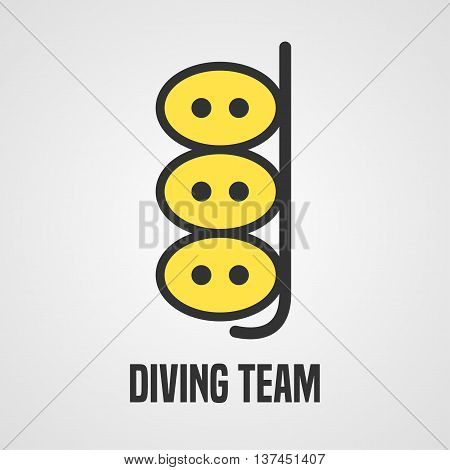 Diving and snorkeling vector logo icon symbol emblem sign design element. Diving tube illustration