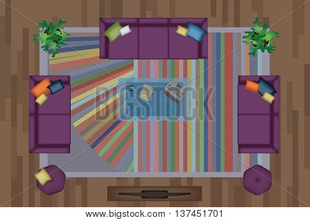 Sofas Armchair Set. Furniture, Pouf, Carpet, TV, Plants, Side Table for Your Interior Design. Flat Vector Illustration. Top View. Scene Creator Set