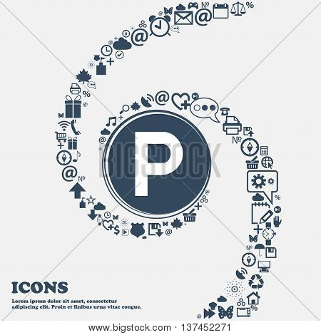 Parking Icon Sign In The Center. Around The Many Beautiful Symbols Twisted In A Spiral. You Can Use