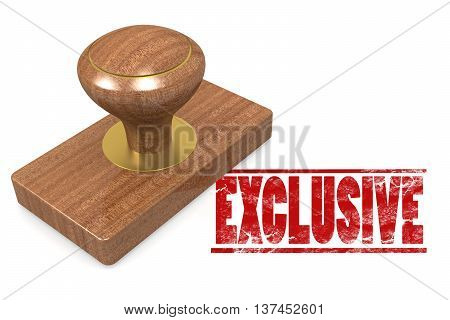 Red exclusive wooded seal stamp image, 3D rendering
