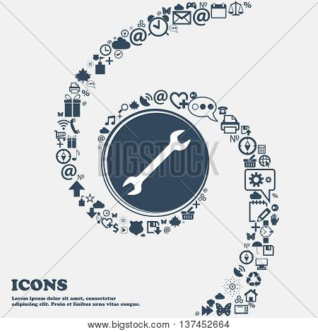 Wrench Icon Sign In The Center. Around The Many Beautiful Symbols Twisted In A Spiral. You Can Use E