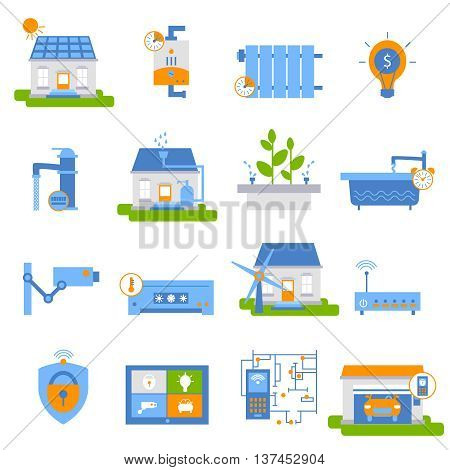 Smart house decorative flat icons with green energy air conditioner automated gateway camera heating isolated vector illustration