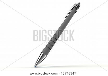 Pen With Rollerball On Paper, Isolated On White