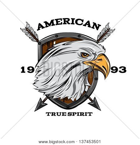 American true spirit emblem with eagle head on brown shield crossed arrows inscription vector illustration