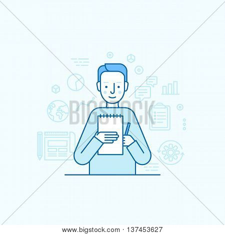 Vector Illustration In Trendy Flat Linear Style - Male Character