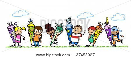 Many cartoon children with school cones for enrollment