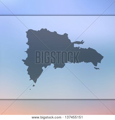 Blurred background with silhouette of Dominican Republic.