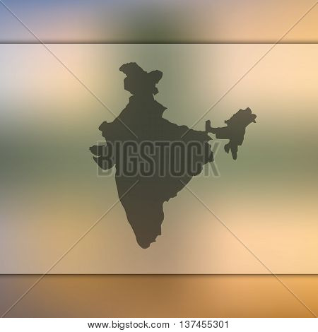 Blurred background with silhouette of India.