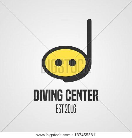 Diving and snorkeling vector logo icon symbol emblem sign design element. Diving tube illustration