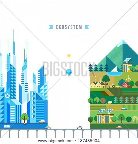 City and pure nature . Rural life and agriculture. Farmhouse . Modern ecosystem. Mountaine landscape.