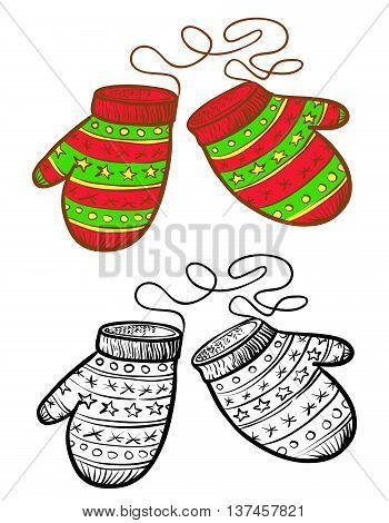 Winter vector doodle black and white and color vector mitten