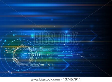 Vector Abstract technology background with eyeball circuit board. Speed motion blur of light rays, arrow, stripe line on dark blue background. Hi-tech science futuristic energy technology concept