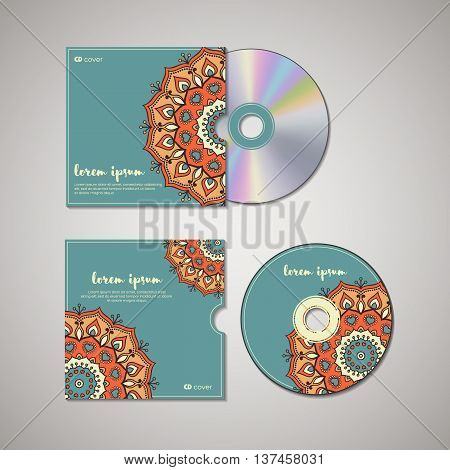 CD cover design template with floral mandala style. Arabic indian pakistan asian motif. Vector illustration under clipping mask.