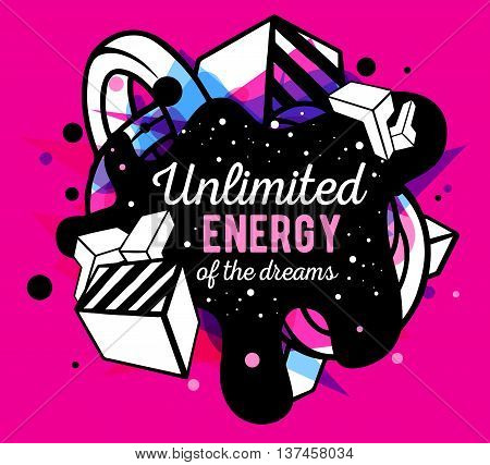 Vector illustration of colorful blue and black abstract composition with white text on pink background. Line art design for web site banner poster board card paper print t-shirt.