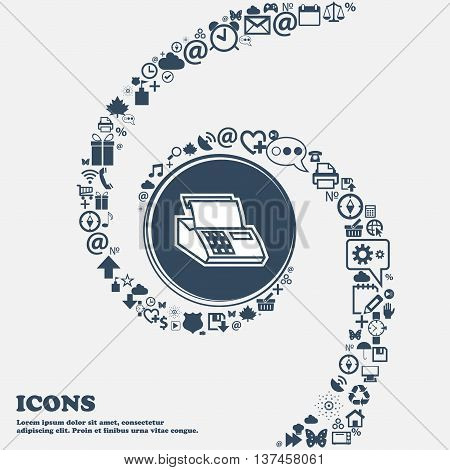 Cash Register Machine Icon Sign In The Center. Around The Many Beautiful Symbols Twisted In A Spiral