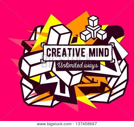 Vector illustration of colorful yellow and white abstract composition with frame and brown text on pink background.