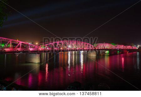 HUE, VIETNAM, April 30, 2016 Page Tien Bridge, downtown Heu, evening