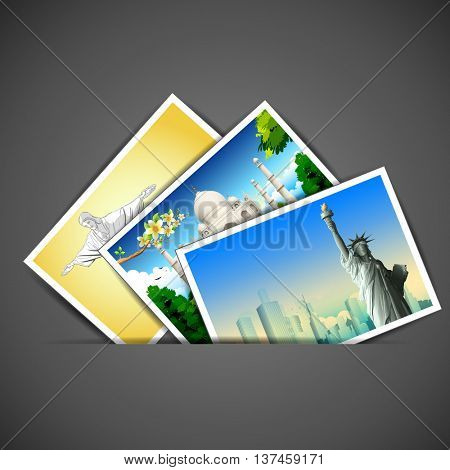 illustration of photograph of different travel place with famous monument