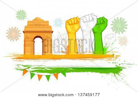 illustration of fist in Indian tricolor with India Gate for Republic Day and Independence Day celebration