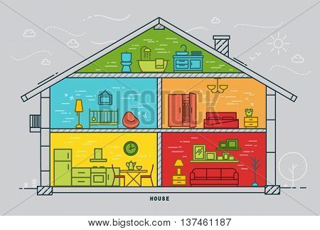 House silhouette with rooms furnishings in flat style drawing with color lines on grey background