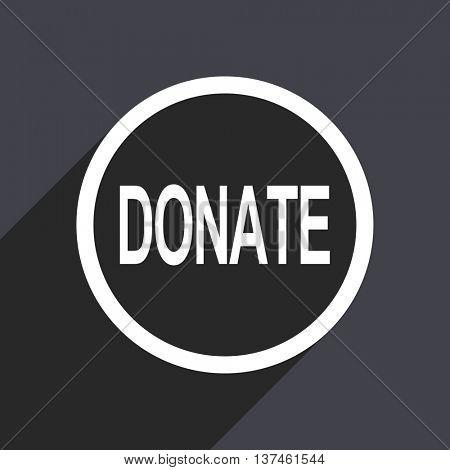 Flat design donate gray vector icon