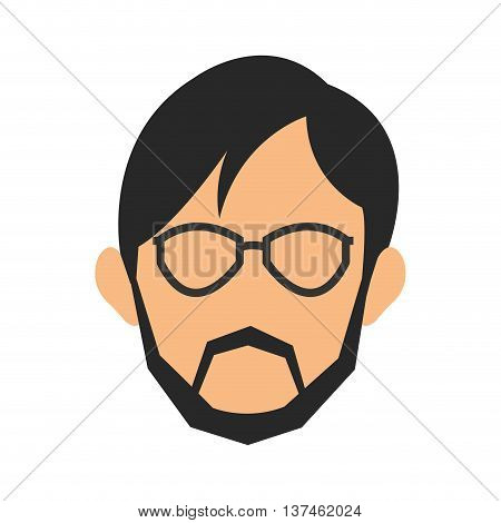 simple flat designface of man wearing glasses and beard icon vector illustration