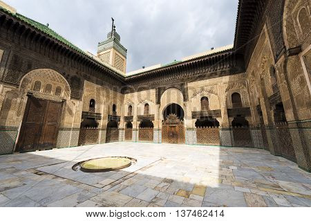 View of the courtyard in the Madrasa Bou Inania in Fez Morocco