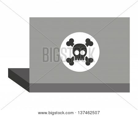 laptop with alert skull  isolated icon design, vector illustration  graphic