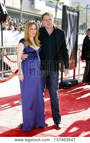 Gillian Anderson and Julian Ozanne at the Los Angeles premiere of 'The X-Files: I Want To Believe' held at the Grauman's Chinese in Hollywood, USA on July 23, 2008.