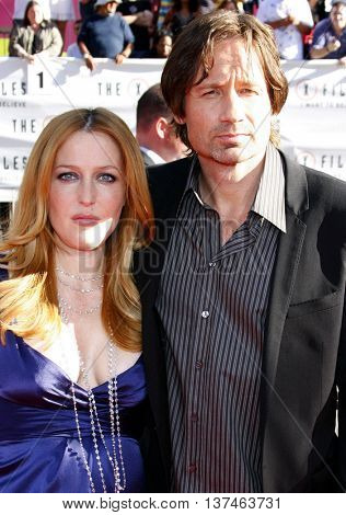 Gillian Anderson and David Duchovny at the Los Angeles premiere of 'The X-Files: I Want To Believe' held at the Grauman's Chinese in Hollywood, USA on July 23, 2008.