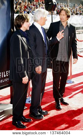 Chris Carter and David Duchovny at the Los Angeles premiere of 'The X-Files: I Want To Believe' held at the Grauman's Chinese in Hollywood, USA on July 23, 2008.