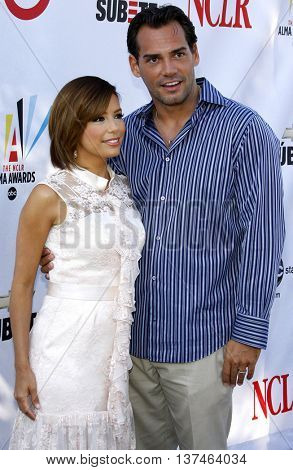 Eva Longoria and Cristian de la Fuente at the 2008 ALMA Awards Nominees Announcement held at the Wisteria Lane, Universal Studios in Hollywood, USA on July 21, 2008.