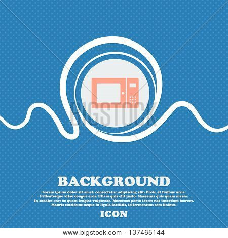 Microwave Icon Sign. Blue And White Abstract Background Flecked With Space For Text And Your Design.
