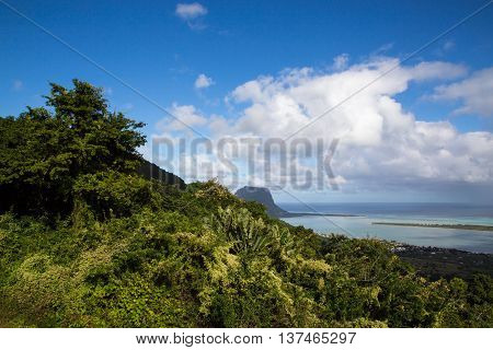 View On Le Morne Mauritius From Plaine Champagne