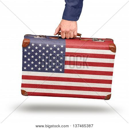 Vintage United states flag suitcase isolated on white travel to USA concept