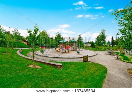 Colorful Kids Playground For Leisure And Recreation Activity.