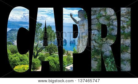 Capri island, Italy.Capri is an island in the Tyrrhenian Sea near Naples. Capri - island name sign with photo in background
